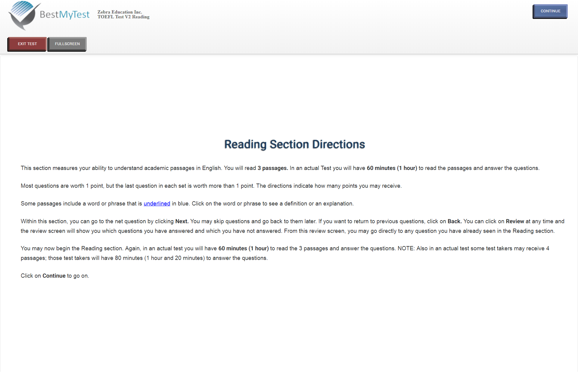 TOEFL reading section direction