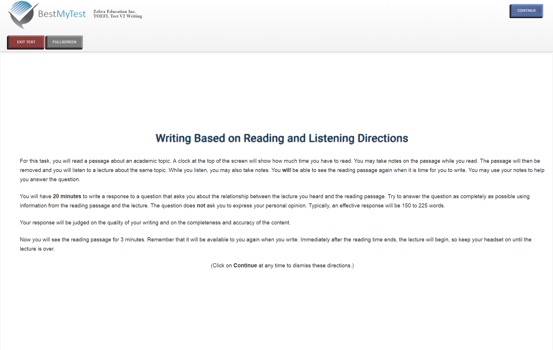 TOEFL writing direction